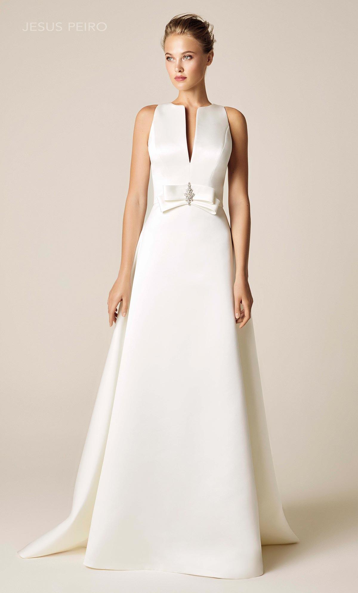 Abiti Da Sposa Jesus Peiro 2018.902 Satin Pencil V Neck Wedding Dressjp2 Bianca Bridal Couture Ny